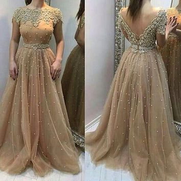 Long Evening Dresses 2017 Stunning Scalloped Neck Short Sleeves Beaded Pearls Formal Evening Gowns Dress