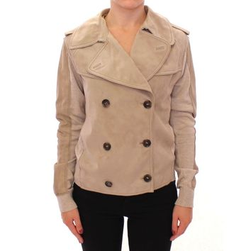 Dolce & Gabbana Beige Suede Jacket Short Trench Coat