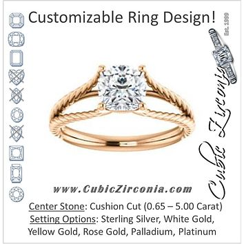 Cubic Zirconia Engagement Ring- The Manuela (Customizable Cathedral-set Cushion Cut Solitaire with Rope-Engraved Split-Band)