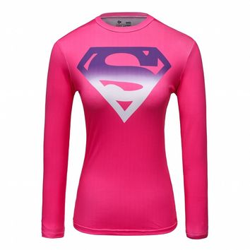 Ladies Garments Avengers Marvel Superman/Spiderman Wonder Women T-Shirt Compression Sports Gym Running Quick Dry Tee Tops Red