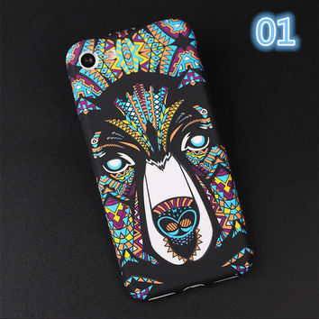 New 3D Relief Emboss Phone case for iphone 7case and for iphone 7plus case with the king of the forest colorful lion case capa -0329