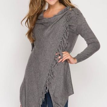 Cardigan Wrap with Fringe - Grey