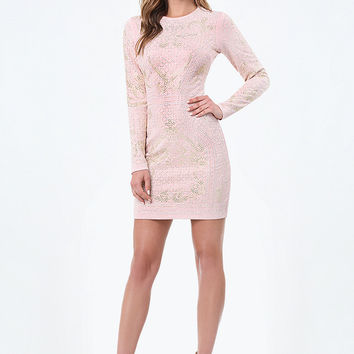 STUDDED JACQUARD DRESS