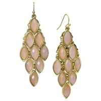 Women's Hanging Drop Fish Hook Earrings - Gold/Pink