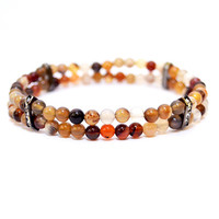 Multicolored Agate Beaded Bracelet with Gunmetal Rhinestone Bridge