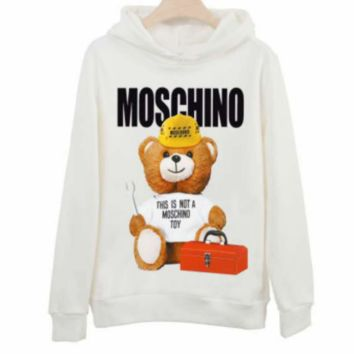 Moschino autumn and winter loose hooded couple wear bear print hooded sweater White