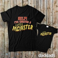 Help I've Created A Little Monster and Little Monster Matching Father Son Shirts from Dad and Lads