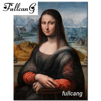 FULLCANG full square diamond embroidery mona Lisa diy diamond painting cross stitch mosaic 5d needlework kits D366