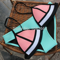 Newest  Women Triangl Neoprene Bikini Set  Push Up Swimwear Padded Triangle Swimsuit  Bathing Suit