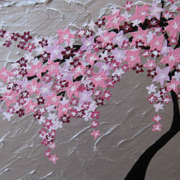 tree of life wall art Japanese cherry blossom painting flowers silver pink small gray grey colourful colorful painting medium wall paintings