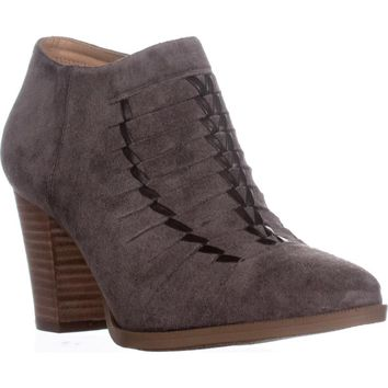 Franco Sarto Dimona Stitched Ankle Boots, Grey Suede, 8.5 US / 38.5 EU