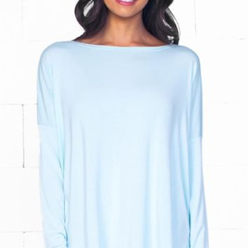 Piko 1988 Mint Green Bamboo Long Sleeved Basic T-Shirt Tee Top BasicLoose Slouch Boat Neck Classic