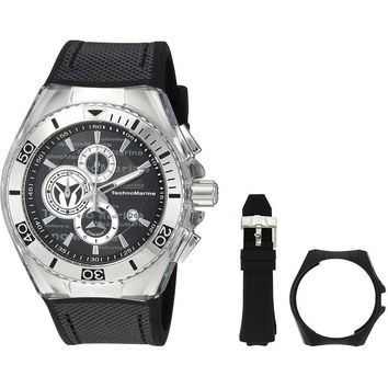 Technomarine Men's Cruise Quartz Stainless Steel and Canvas Casual Watch Black TM-115344