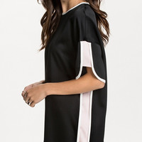 Black Fifth Sleeve Loose Dress with Lining