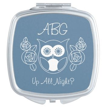 Up All Night? Cute Retro Owl and Roses Monogram Mirror For Makeup