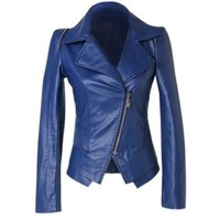 Womens Blue Leather Jacket - High Fashion Biker