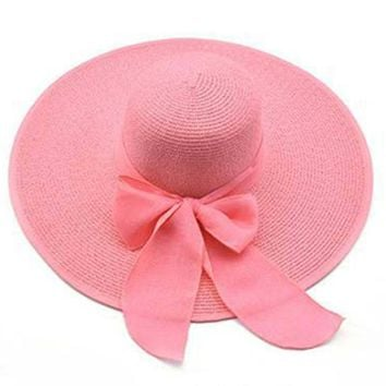 Korean Fashion Vintage Hat Lady Summer Wide Along Bow Visor Sun Beach Straw Hat Mujer Cap Candy Colored Sun Hats for Women