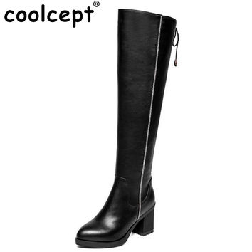 Women Vintage Boots Genuine Leather Over Knee Boots Sexy High Heel Pointed Toe Riding Botas Winter Zipper Women Shoes Size 34-39