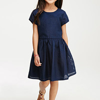 Windowpane Overlay Dress (Kids)