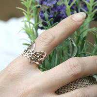 Butterfly Perforated Silver Ring Sterling Ring .925 Silver Ring Personalized Ring
