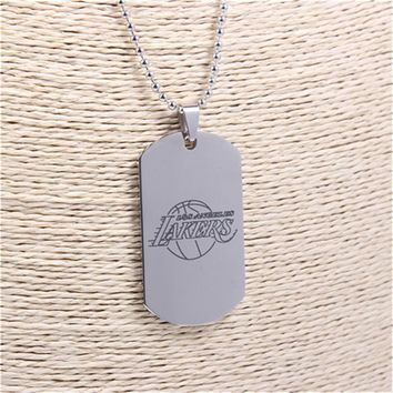 1Pcs/lot Retail Sports American Basketball LA Lakers Logo Dog Tag Pendant Necklace Stainless Steel Jewelry for Men Fans