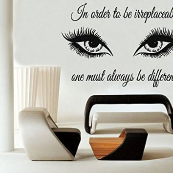 Wall Decals Quote In Order To Be Irreplaceable Decal Eyes Eyelashes Makeup Girl Woman Cosmetic Vinyl Sticker Beauty Salon Bathroom Home Decor Art Mural Ms391