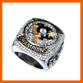 READY MADE 2016 PITTSBURGH PENGUINS STANLEY CUP SCORES ENGRAVED CHAMPIONSHIP RING WITH HIGH QUALITY REPLICA MEN JEWELRY