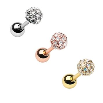 Golden, Rose Gold, Siver Full Dome Pave Cartilage Tragus Earring