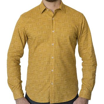 Golden Traditional Japanese 'Hashtag' Print Shirt - Lex