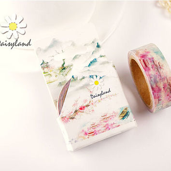 1.5CM Wide Land of Pleasure Washi Tape DIY Scrapbooking Sticker Label Masking Tape School Office Supply