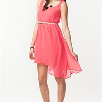 A'GACI Asymmetrical Chiffon Belted Dress - DRESSES
