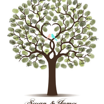 Wedding Tree Guest Book Print with Love Birds 16x20, 17x22, 18x24 or 20x25 inches - Fingerprint     and Signature Tree - FAST SHIPPING