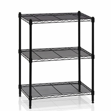 Furinno Wayar 3-Tier Heavy Duty Wire Shelving Black, WS15002