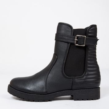 Moto Ridged Ankle Boots