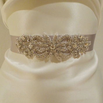 Bridal Rhinestone Sash SILVER Bridal Belt by BellaCescaBoutique