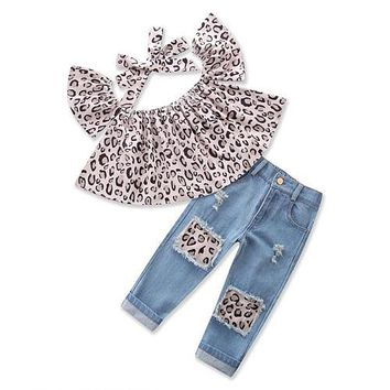 Fashion kids baby Girl Outfits Leopard Tops+Ripped Jeans Pants+headband Clothes 3PCS