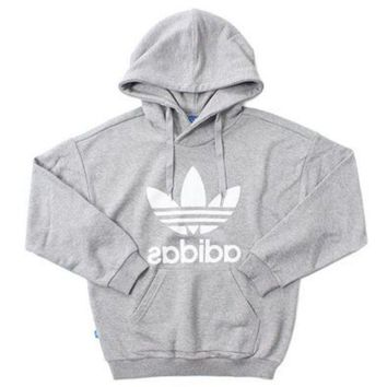 """Adidas"" Fashion Women Print Long Sleeve Hoodie Pullover Top Sweater Sweatshirt Grey White I"