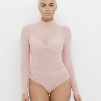 CHANTILLY SHEER BODYSUIT - PINK