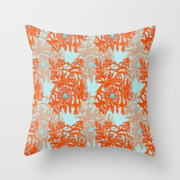 Orange and blue floral pattern Throw Pillow by Heaven7