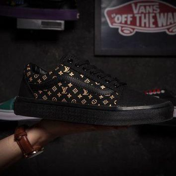 PEAP8KY Vans X Louis Vuitton Old Skool Black Low Tops Flats Shoes Sneakers Sport Shoes