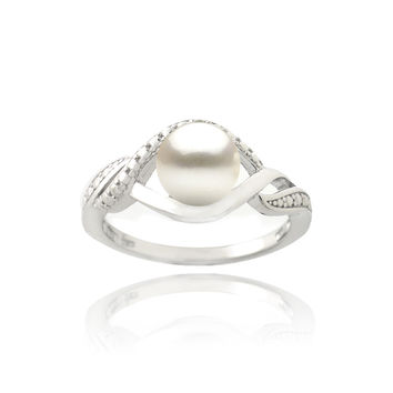 Glitzy Rocks Silver FW Pearl and Diamond Accent Swirl Ring (7 mm)