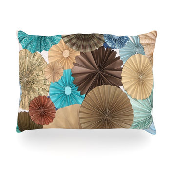 "Heidi Jennings ""Day At The Beach"" Tan Aqua Oblong Pillow"