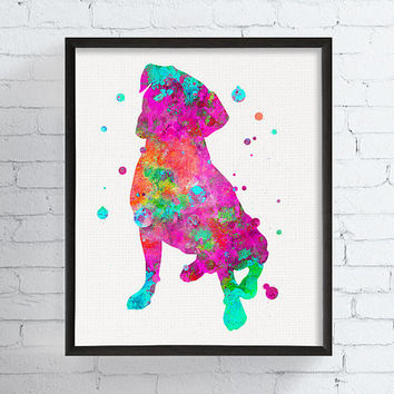 Boxer Print, Boxer Art, Watercolor Boxer, Boxer Illustration, Framed Art, Dog Painting, Dog Art Print, Boxer Poster, Dog Decor, Boxer Decor