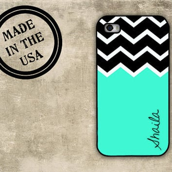 iPhone 5 case - Tiffany blue with black chevron - Personalized Iphone monogram - protective Iphone 5 case Monogrammed Iphone 5 (9983)