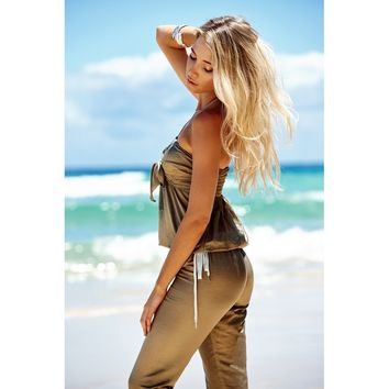 Silver Split Drawstring Jumpsuit