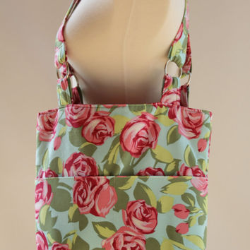 Tote Bag Amy Butler's Tumble Roses Flowers by chitchatdesignsllc
