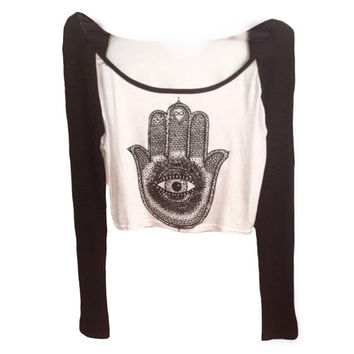 Hamsa baseball cropped tee evil eye, teenager, young adult clothing, baseball tshirt, long sleeve, hipster style, perfect gift, golden youth