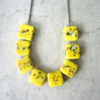 yellow chunky necklace, handmade jewelry