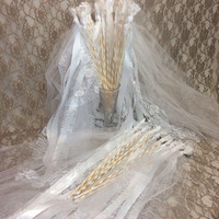 50 Wedding Wands Extra long, Tulle Lace Ribbon Triple Streamers, Romantic Wedding Send Off, Party Favors, Bell & Wrapped Dowel Options