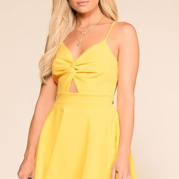 Got A Crush Yellow Skater Dress